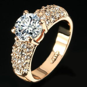 Crystal Engagement Wedding Rings -Cubic Zirconia Silver/Rose Gold Color -CZ Stone Ring Jewelry For Women - Anel Style
