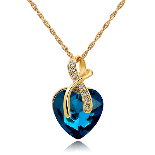 Blue Austrian Crystal Heart Pendant Necklaces For Women - Classic Gold Color Statement Necklace - Ethnic Jewelry Green Maxi Bijouterie