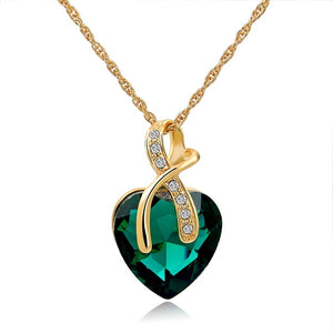 Green Austrian Crystal Heart Pendant Necklaces For Women - Classic Gold Color Statement Necklace - Ethnic Jewelry Green Maxi Bijouterie