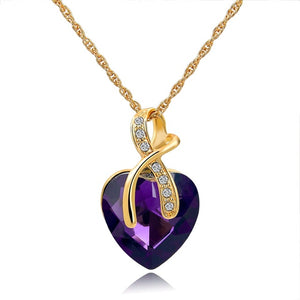 Purple Austrian Crystal Heart Pendant Necklaces For Women - Classic Gold Color Statement Necklace - Ethnic Jewelry Green Maxi Bijouterie