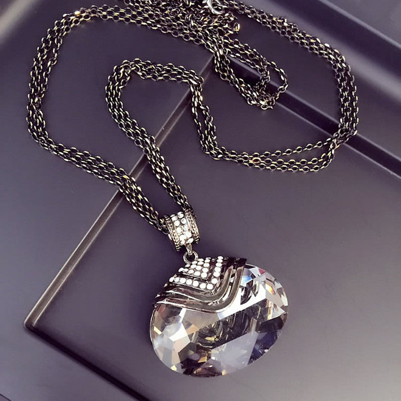 Pendant Necklace For Women w/ Large Elliptical Crystal Pendant & Chain- Long Sweater Chain For Girls & Women