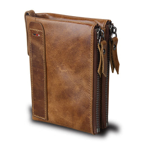 Brown Crazy Horse Genuine Leather Men Wallets| Credit Business Card Holders | Double Zipper Cowhide Leather Wallet | Best Men's Gifts