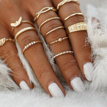 12 pc/set Charm Gold Color Midi Finger Ring Set for Women - Vintage Boho Knuckle Party Rings - Punk Jewelry -Gift for Girls