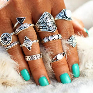 10 Piece Fashion Leaf Stone Midi Ring Sets - Vintage Crystal Opal Knuckle Rings for Women - 10PC Set