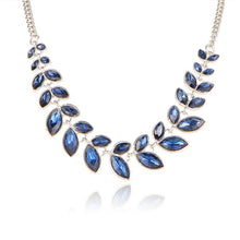 Rhinestone Crystal Choker Statement Necklace for Women - 3 Color Leaves -Collar Bijoux Maxi Necklaces, Wedding Jewelry