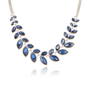 Choker Necklace Rhinestone Crystal -Leaf Pattern 3 Colors -Collar Bijoux Maxi Necklaces, Wedding Jewelry & Women's Gifts