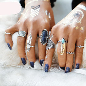 Midi Rings/Stacking Rings Set 8 pcs Boho Jewelry Stone for Women | Vintage Tibetan Turkish Silver Color - Flower Knuckle Rings Gift