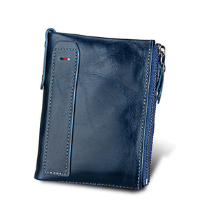 Dark Blue Crazy Horse Genuine Leather Men Wallets| Credit Business Card Holders | Double Zipper Cowhide Leather Wallet | Best Men's Gifts