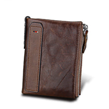 Dark Coffee Crazy Horse Genuine Leather Men Wallets| Credit Business Card Holders | Double Zipper Cowhide Leather Wallet | Best Men's Gifts