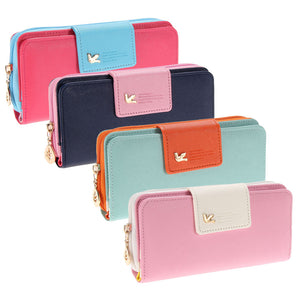 Wallet with Long Zipper - Leather Wallet Purse - Amazing Colors, Roomy & Stylish