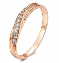 Simple Cubic Zirconia Lovers Rose Gold Color Wedding Ring Jewelry | Crystal & Copper Engagement Rings