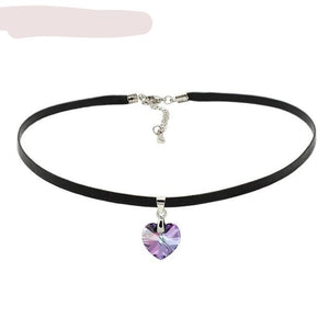 Heart Pendant Choker Necklace Crystals From Swarovski Elements -Rope Chain Collier Collar Necklace For Women - Vintage Jewelry
