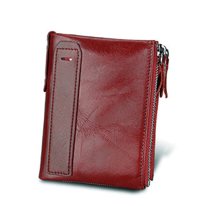 Red Crazy Horse Genuine Leather Men Wallets| Credit Business Card Holders | Double Zipper Cowhide Leather Wallet | Best Men's Gifts