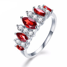 Engagement Ring With Red Garnet & Cubic Zirconia Diamond & Solid 925 Sterling Silver - Fine Jewelry Gifts For Women