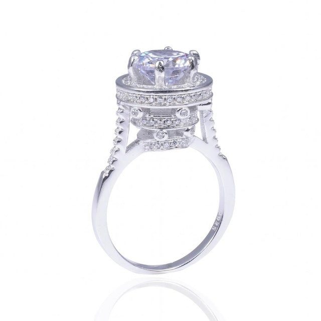 Engagement Ring With Moissanite & 100% 925 Sterling Silver - Wedding Rings Jewelry for Women