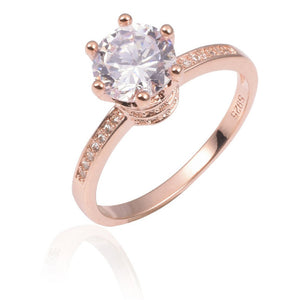 Moissanite Engagement Ring In Rose Gold & 100% 925 Silver Wedding Rings Crown Jewelry for Women - 1.2ct Simulated Diamond Engagement Ring