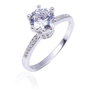 Moissanite Engagement Ring w/100% 925 Sterling Silver-Wedding Rings Crown Jewelry for Women