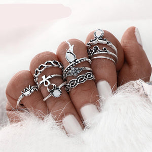 Midi Ring Stacking Rings For Women 10 Ring Set Gold Color Flower - Silver Color - Boho Beach Vintage Turkish Punk Elephant Knuckle Ring