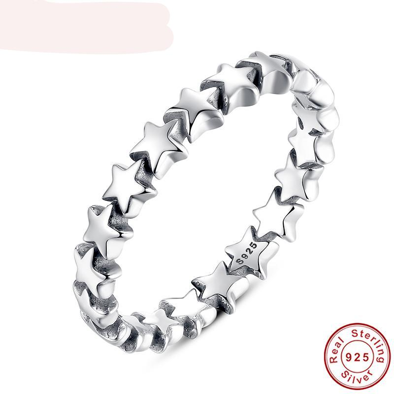 Star Trail Stackable Finger Ring For Women -Wedding 100% 925 Sterling Silver Jewelry - Lead, Nickel, Cadmium Free