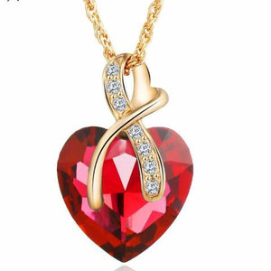 Austrian Crystal Heart Pendant Necklace Women - Fashion Jewelry 4 colors - Gold Color Love Necklaces & Pendants Collars