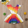 Rainbow Striped Dress - Abby Apples Boutique