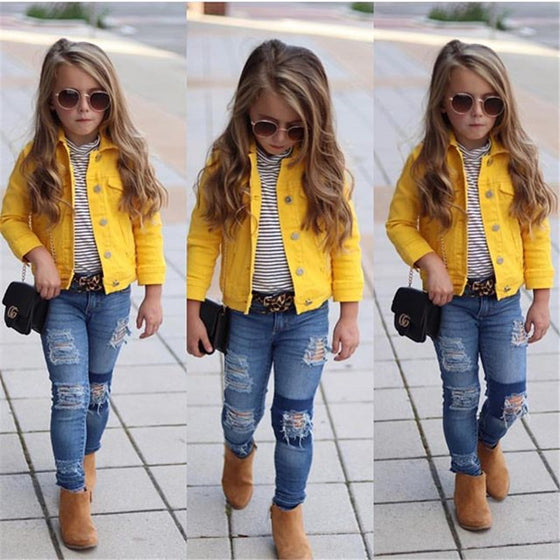 Amber Yellow Denim Jacket - Abby Apples Boutique