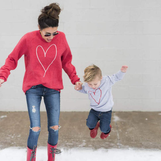 Mommy & Me Heart Sweatshirt - Abby Apples Boutique
