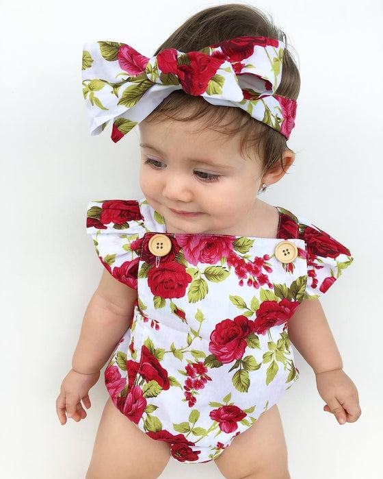 Rosy Floral Romper - Abby Apples Boutique