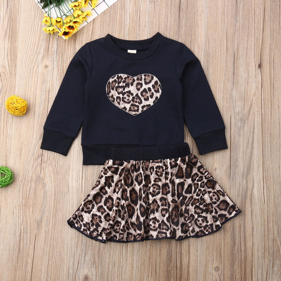 Zoey Leopard Heart Set - Abby Apples Boutique