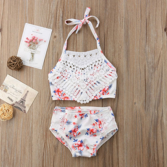Floral and Lace Toddler Swimsuit - Abby Apples Boutique