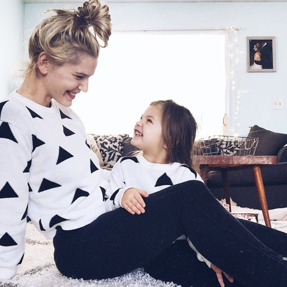 Mommy & Me Triangle Sweater - Abby Apples Boutique
