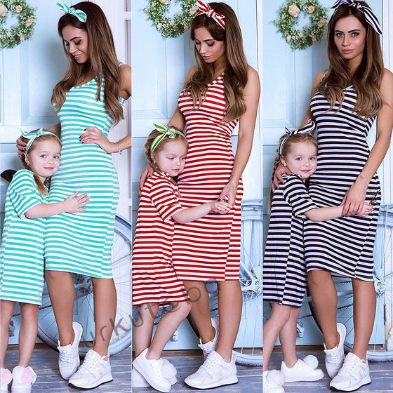 Mommy & Me Striped Midi Dress - Abby Apples Boutique