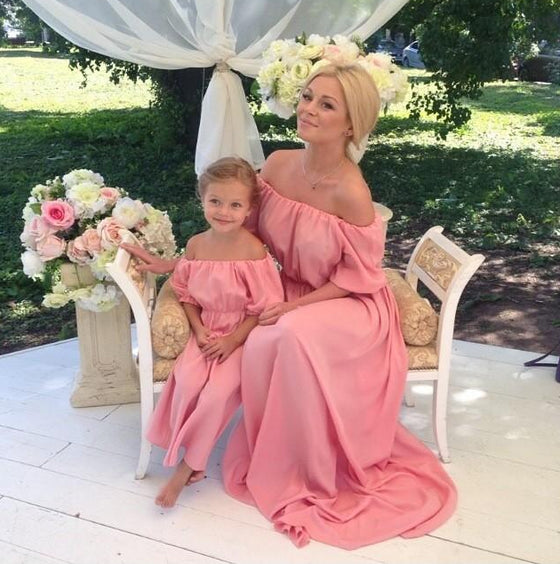 Mommy & Me Boho off the Shoulder Ruffle Dress - Abby Apples Boutique