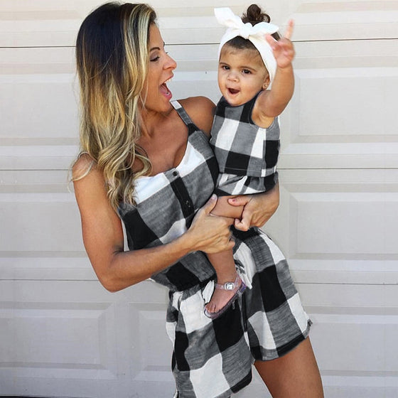 Mommy & Me Plaid Romper - Abby Apples Boutique