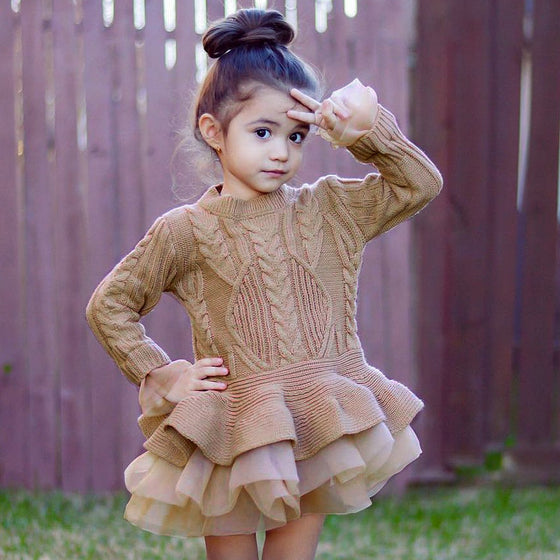 Girls Knit Sweater Tutu Dress - Abby Apples Boutique