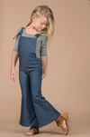 Amelia Denim Overall Bell Bottom Romper 5-7-9 SPECIAL - Abby Apples Boutique