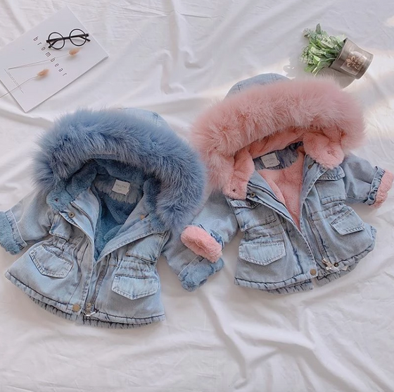 Holly Oversized Denim Fur Hooded Winter Coat Jacket - Abby Apples Boutique