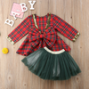 Lucy Plaid Bow Sequin Dress - Abby Apples Boutique