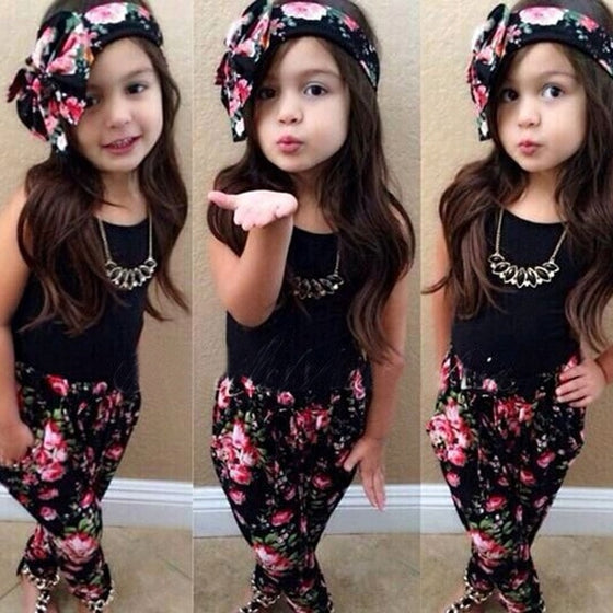 Floral Shirt + Pants + Headband Set - Abby Apples Boutique
