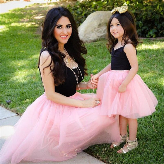 Mommy & Me Pink and Black Tulle Dress - Abby Apples Boutique