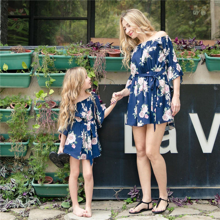 Mother Daughter Floral Bell Sleeve Dress (2 Color Options) - Abby Apples Boutique