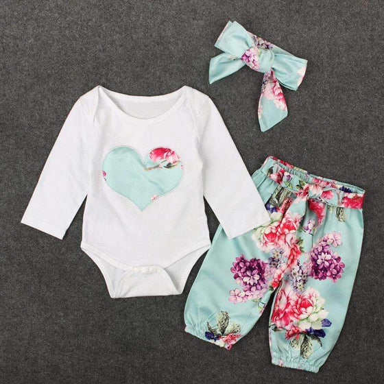 Floral Heart Baby Outfit - Abby Apples Boutique
