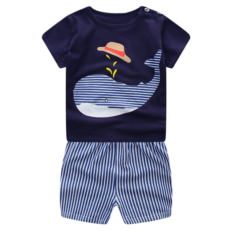 Boys Blue Striped Whale Short Set - Abby Apples Boutique