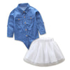 Mother Daughter Denim Shirt and Skirt Set - Abby Apples Boutique