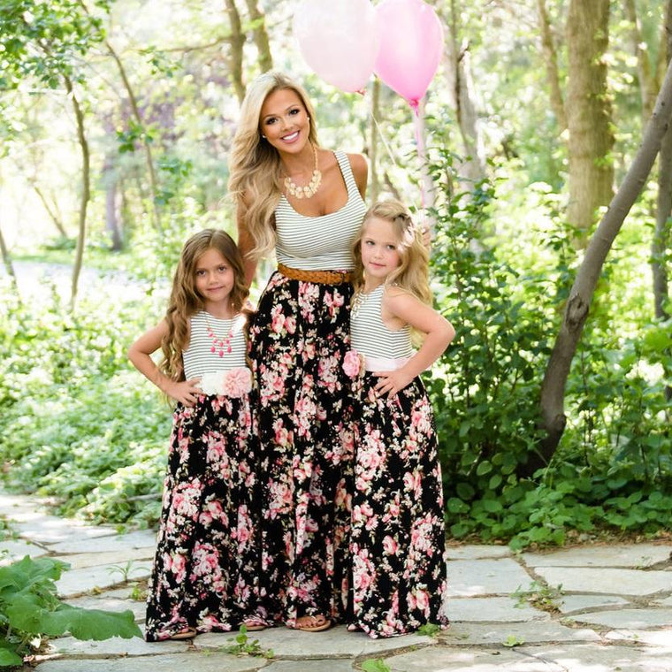 Mother Daughter Striped Rose Maxi Dress - Abby Apples Boutique