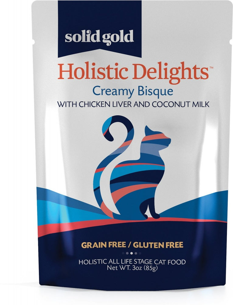 Solid Gold Holistic Delights Grain Free Creamy Bisque with Chicken Liver & Coconut Milk Wet Cat Food Pouch
