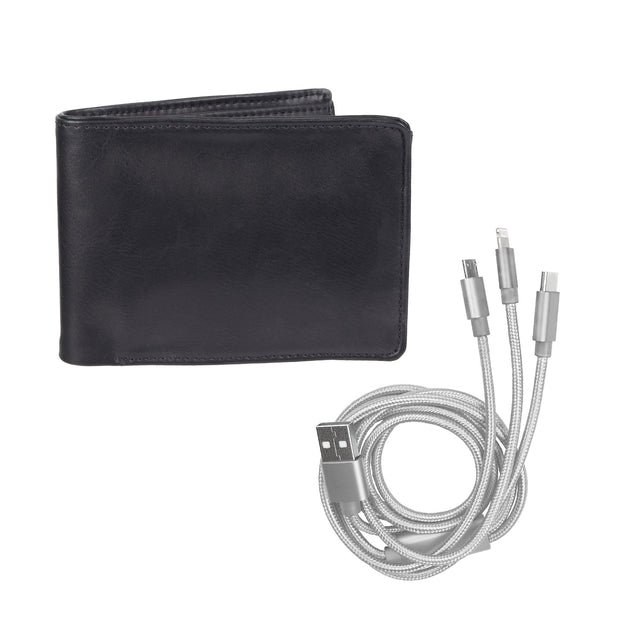 RFID Bifold Wallet with 3-in-1 USB Charging Cord