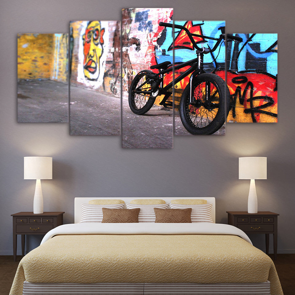 Bike graffiti framed 5 panel canvas wall art