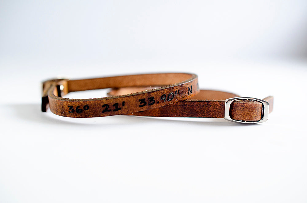 Single Latitude & Longitude Single Wrap Leather Bracelet