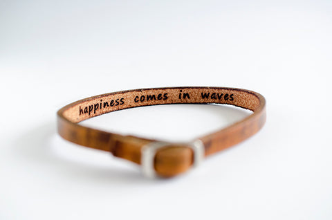 Happiness Comes in Waves Hidden Message Skinny Adjustable Leather Bracelet